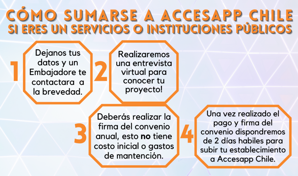 Cómo sumarse a Accesapp Chile, Servicios o Instituciones Públicos